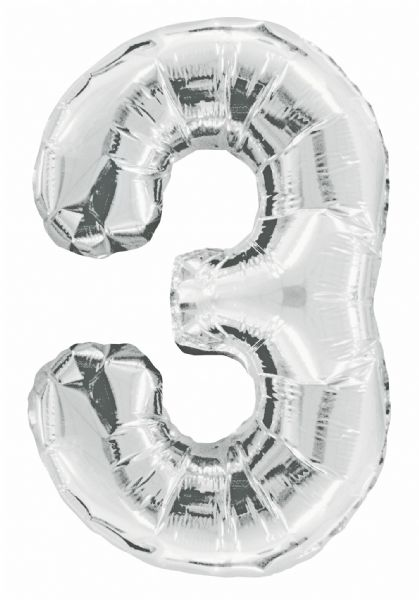Silver Number 3 Foil Balloon